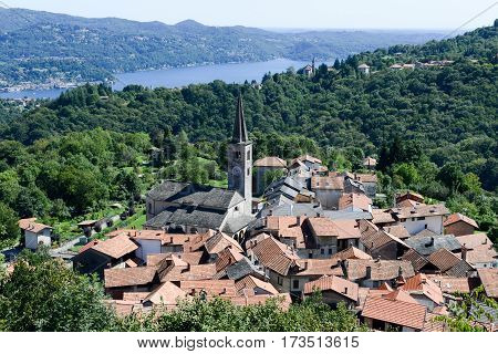 Arola, Italy - 5 September 2014: The rural village of Arola over lake Orta on Piedmont Italy