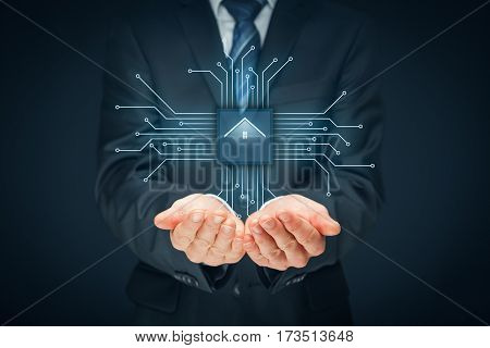 Intelligent house, smart home and home automation concept. Symbol of the house and wireless communication. Abstract chip with symbol of the house connected with abstract devices represented by points.