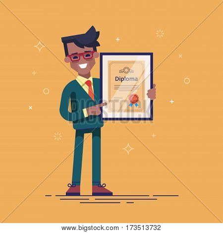 Successful african american businessman holding diploma in his hands. Graduate of MBA. Modern vector illustration