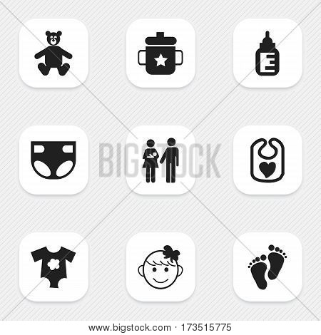 Set Of 9 Editable Kid Icons. Includes Symbols Such As Nursing Bottle, Cheerful Child, Small Dresses And More. Can Be Used For Web, Mobile, UI And Infographic Design.