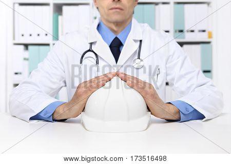 hands doctor protect helmet worker medical health insurance concept
