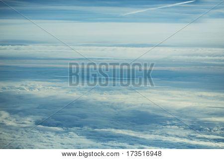 Thick Soft Clouds On Idyllic Blue Sky