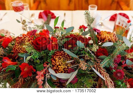 Wedding Floristry Of Red Flowers