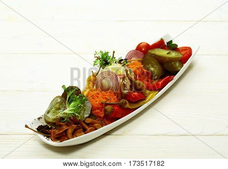 Delicious Pickled Vegetables On Plate