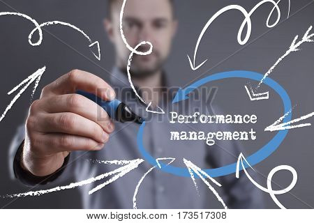 Technology, Internet, Business And Marketing. Young Business Man Writing Word: Performance Managemen
