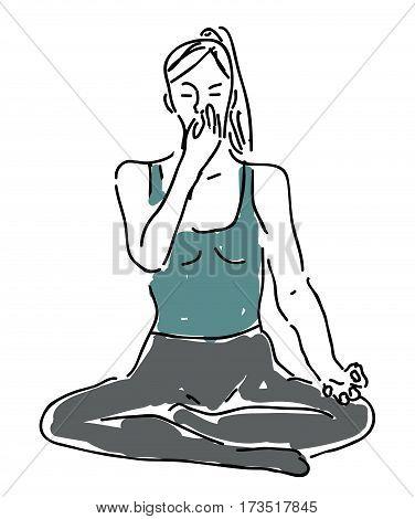 Yoga breathing - pranayama, nadi shodhana - vector