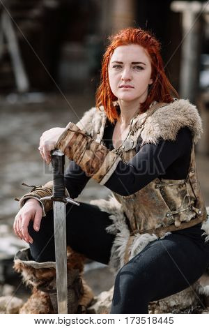 Portrait Of A Girl In A Viking Outfit, Red Hair.