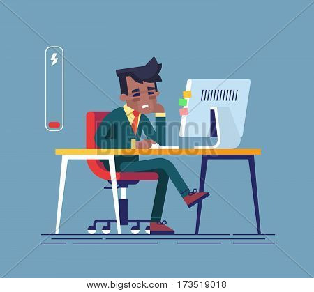 Feeling exhausted. Tired african american man sitting at his working place with computer in office. Business concept. Modern creative vector illustration.