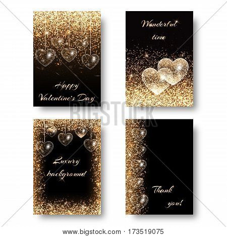 Love background with light effect. Sequins pattern on a black backdrop. Design to celebrate marriage ceremony