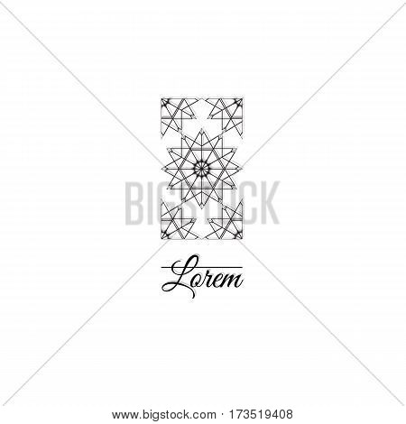 Ornamental logo template design. Elegant vertical graphic element with linear rhombus grids, stears and sqyare. Vector symbol eps 10
