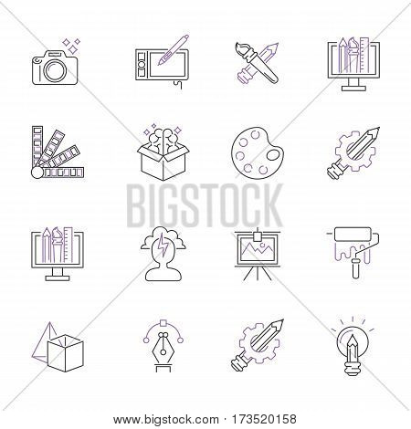 Vector illustration of thin line icons for art design. Linear symbols artistic ink set. Pictogram creativity button crafts graphic collection.