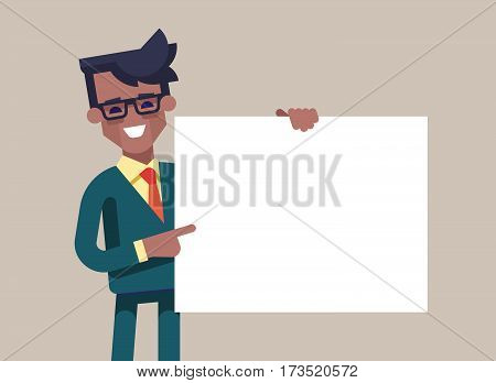 African american manager in formal suit holding a blank sheet and pointing by index finger to it. Template for your text. Cartoon character. Stock vector illustration in flat design.