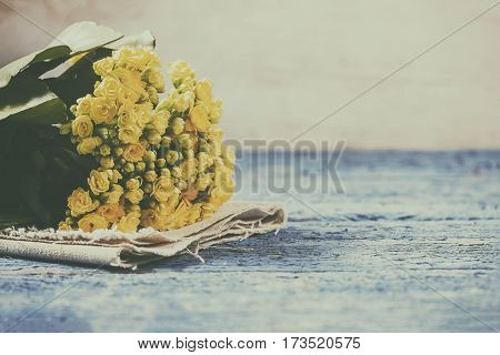 Kalanchoe Flowering Yellow Bouquet On Vintage Background.