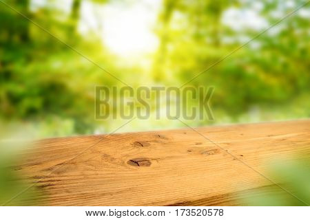Wooden table in a sunny spring landscape for a concept