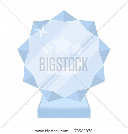 Crystal trophy in the shape of a star. Award for the best song in the talent contest. Awards and trophies single icon in cartoon style vector symbol stock web illustration.