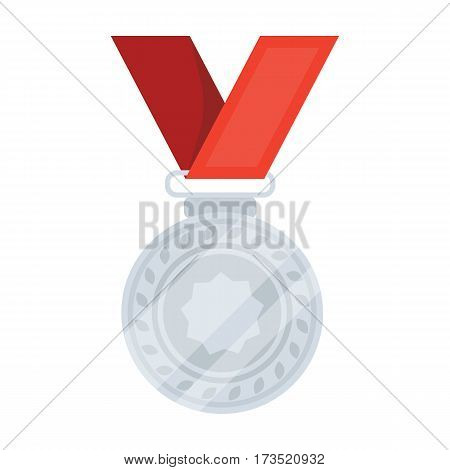 Silver medal on a red ribbon. The award for second place in the competition. Awards and trophies single icon in cartoon style vector symbol stock web illustration.