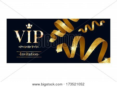 VIP party premium invitation card poster flyer. Black and golden design template. Decorative background with gold ribbons serpentine.