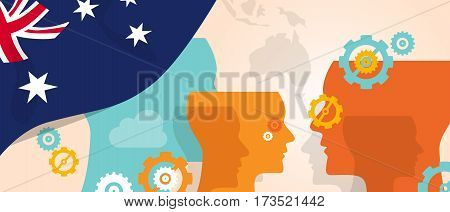 Australia concept of thinking growing innovation discuss country future brain storming under different view represented with heads gears and flag vector