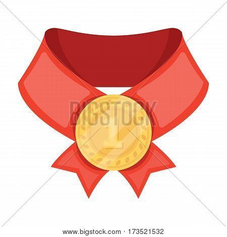 The gold award. Medal of medalist. Awards and trophies single icon in cartoon style vector symbol stock web illustration.