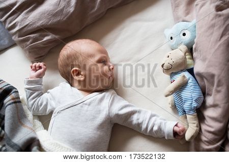 Cute newborn baby boy in gray onesie lying on bed, teddy bear toy next to him
