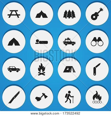 Set Of 16 Editable Trip Icons. Includes Symbols Such As Musical Instrument, Field Glasses, Shelter And More. Can Be Used For Web, Mobile, UI And Infographic Design.