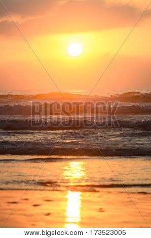 Beautiful tropical sunset on the oceanic beach in Morocco, Africa