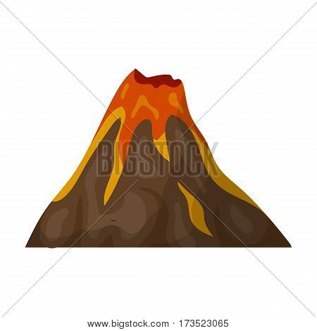 A fiery volcano. A mountain in which there is a volcanic eruption. Different mountains single icon in cartoon style vector symbol stock web illustration.