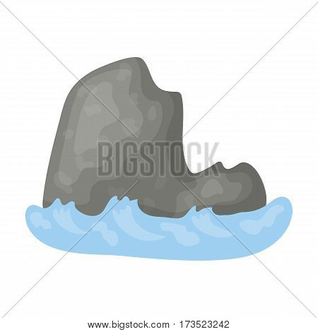The mountain, which stands at userage sea.mountain which is washed by the ocean.Different mountains single icon in cartoon style vector symbol stock web illustration.