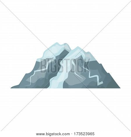 Ice mountain all the cracks.The mountain from which icebergs.Different mountains single icon in cartoon style vector symbol stock web illustration.
