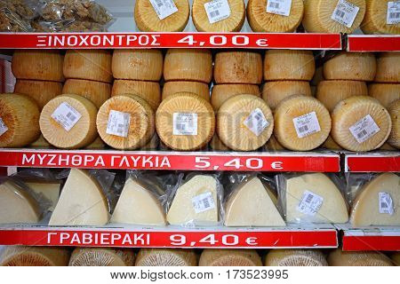 HERAKLION, CRETE - SEPTEMBER 19, 2016 - Greek cheese for sale in a city centre shop Heraklion Crete Greece Europe, September 19, 2016.