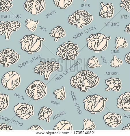 Seamless pattern with hand drawn vegetables. Perfect organic food pattern in flat style with hand drawn lettering can use for wrapping paper bioproducts wallpaper organic background