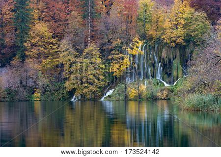 Lake and forest with small waterfall at Plitvice Lakes National Park