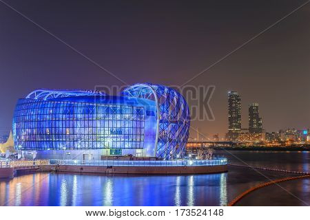 SEOUL, KOREA: APRIL 2,2016: Seoul Floating Island and city skyline at night, Seoul, South Korea