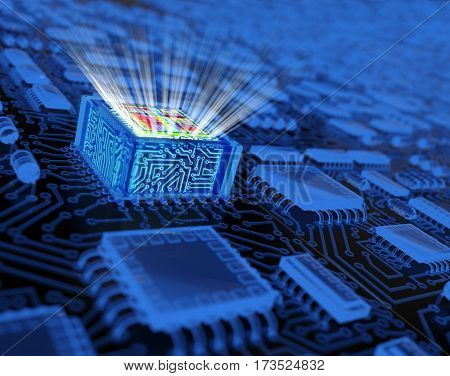 Abstract Processor Background / Technology Concept. 3D illustration