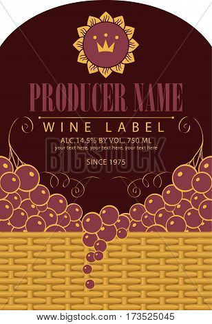 Vintage wine label with grape bunch and vine in a basket