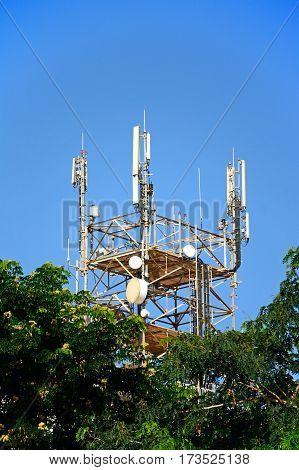 Large telecommunications mast in the city centre Heraklion Crete Greece Europe.