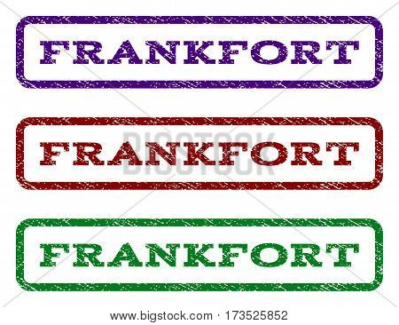 Frankfort watermark stamp. Text tag inside rounded rectangle with grunge design style. Vector variants are indigo blue red green ink colors. Rubber seal stamp with dust texture.