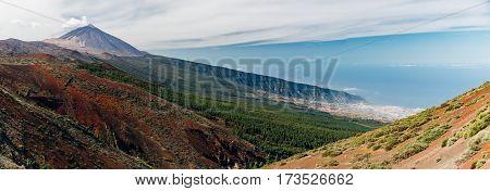 Panoramic view of El Teide volcano and La Orotava valley from Mirador de La Tarta Tenerife Spain