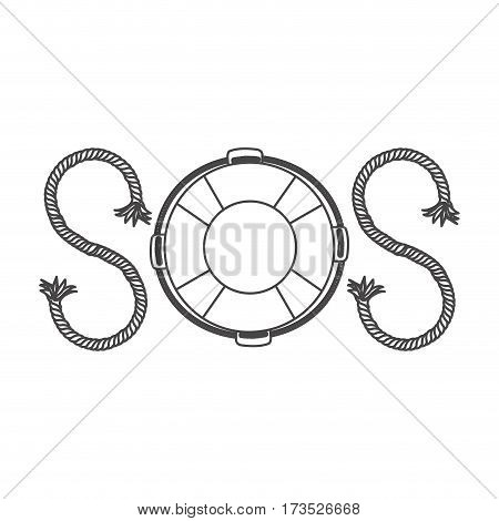 silhouette life belt with rope sos inscription vector illustration
