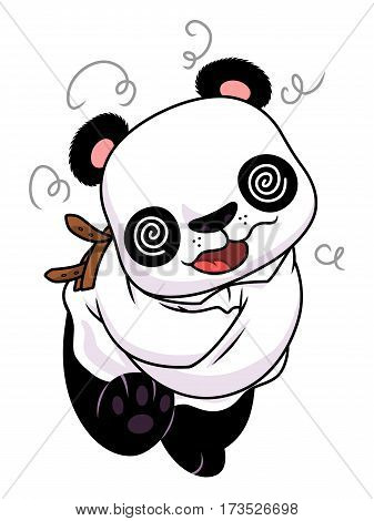 Cartoon crazy panda dressed in straitjacket.  Vector illustration.