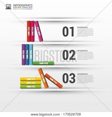 Books step business education infographics. Vector illustration.