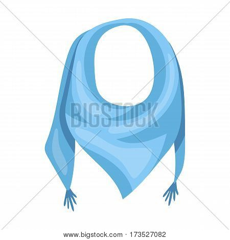 blue summer bandana from the sun. Bandana with knots on the ends. Scarves and shawls single icon in cartoon style vector symbol stock web illustration.