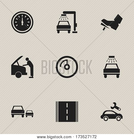 Set Of 9 Editable Car Icons. Includes Symbols Such As Automotive Fix, Vehicle Wash, Speed Control And More. Can Be Used For Web, Mobile, UI And Infographic Design.