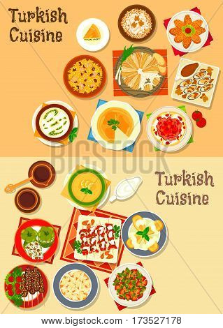 Turkish cuisine grilled meat kebab icon set with meat and fish cutlets, pilaf, stuffed pepper, dumpling, lentil and rice soups, bean stew, chicken with walnut, mussel, cheese pie and fruit dessert