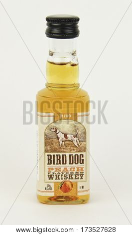 Spencer Wisconsin February 27 2017 Bottle of Bird Dog Peach Whiskey Bird Dog is made in America by Western Spirits of Kentucky