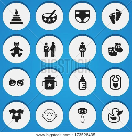 Set Of 16 Editable Kid Icons. Includes Symbols Such As Tower, Goplet, Merry Children And More. Can Be Used For Web, Mobile, UI And Infographic Design.