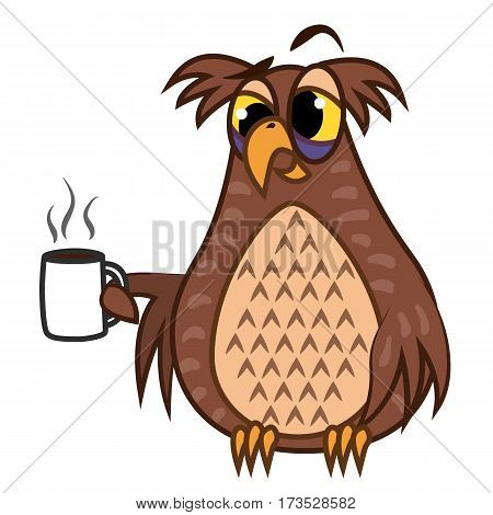Set Vector Illustrations isolated character cartoon sleepy owl emoticons with coffe cup for site, info graphics, reports, comics