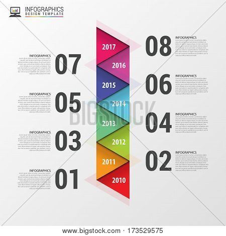 Flat colorful abstract timeline infographics. Vector illustration.