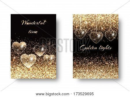 Valentines Day background vector with light effect. Glossy texture on a dark backdrop. Design to celebrate wedding anniversary.