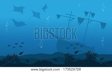 Silhouette of big ship stingray underwater landscape vector